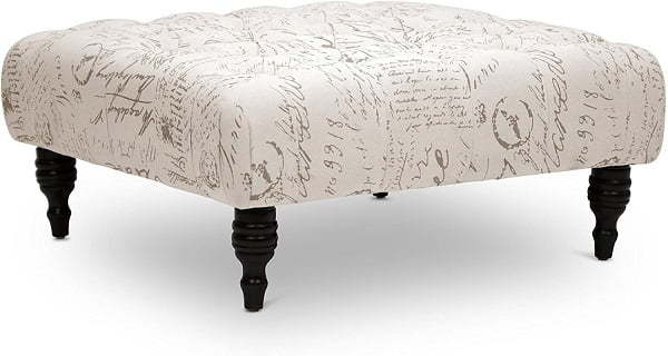 script print tufted ottoman
