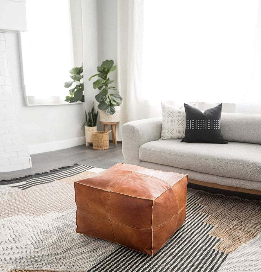 square leather poof