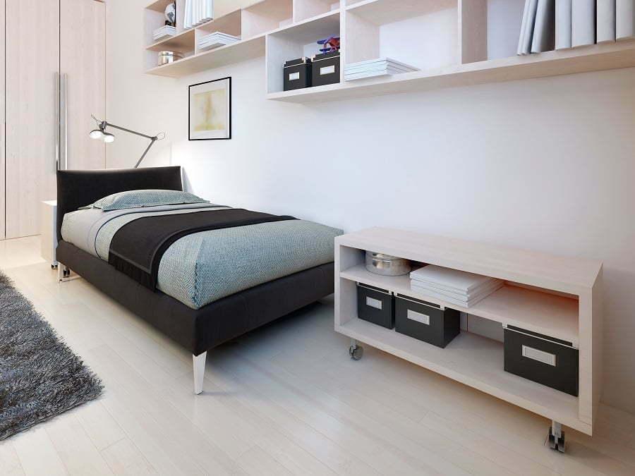 Minimalism bedroom shelves