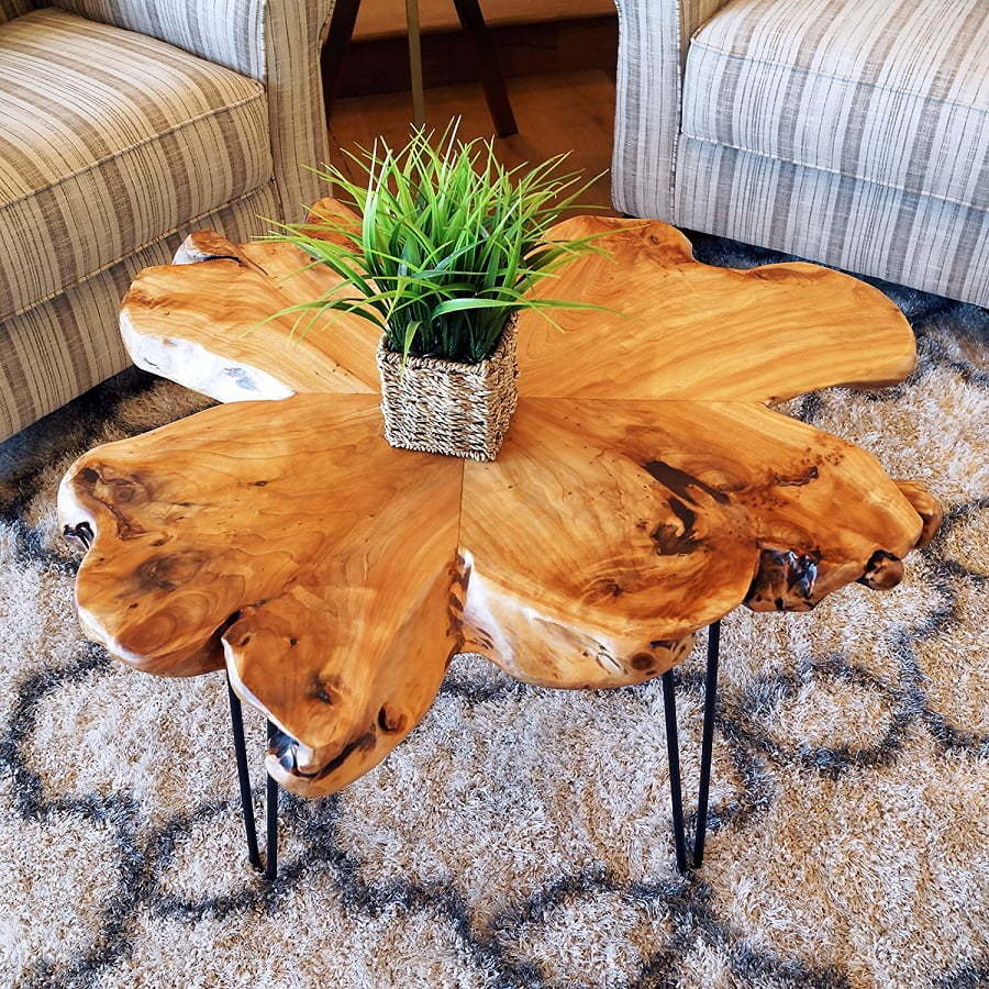 natural-edge wood coffee table