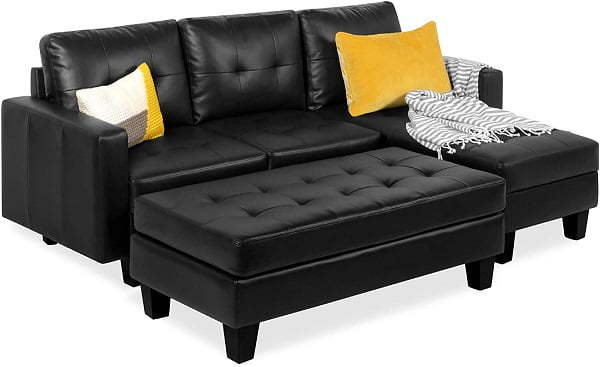 tufted l-shaped sleeper sectional