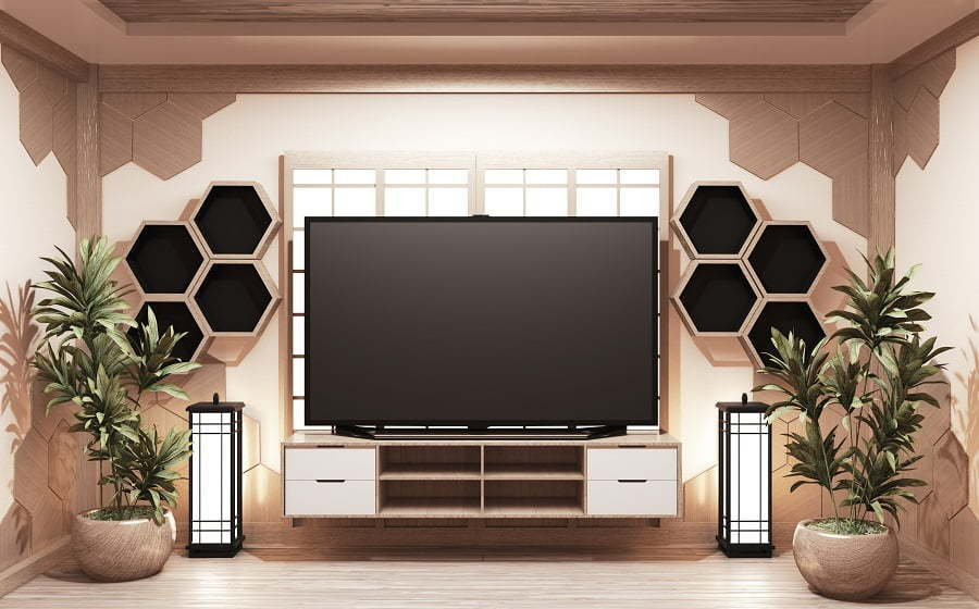 furniture around tv