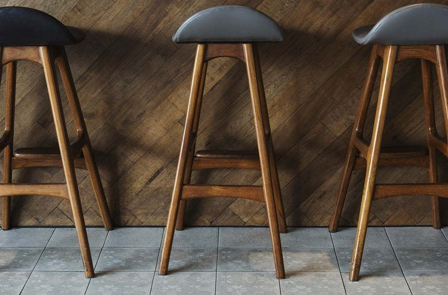 bar stools on tile floor