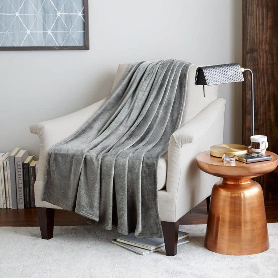 Bedsure Fleece Blanket Throw Size Grey Lightweight
