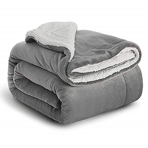 Bedsure Sherpa Fleece Blanket Throw Size Grey