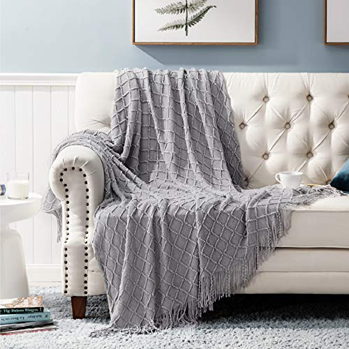 Bedsure Throw Blanket For Couch, Knit Woven
