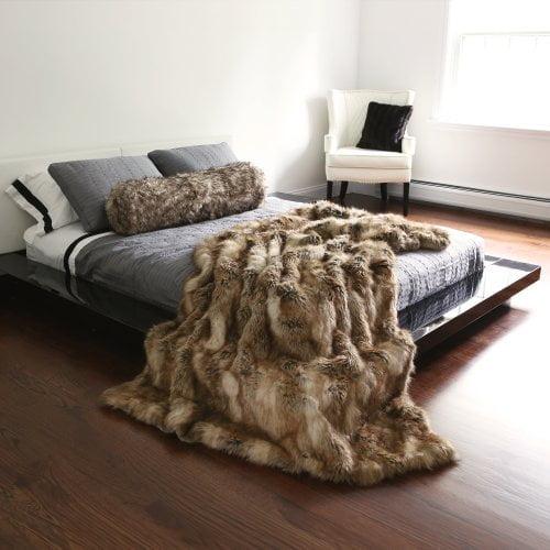 Best Home Fashion Amber Fox Faux Fur Full Throw