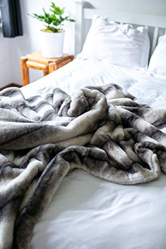 Double Sided Faux Fur Throw Blanket Silky Soft