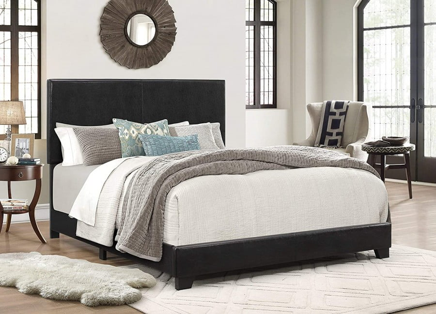 Crown Mark Erin Upholstered Panel Bed In Black,