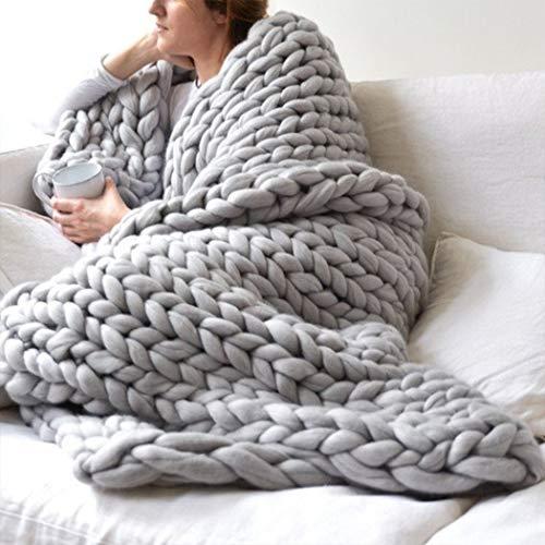 Eastsure Chunky Knit Blanket Bulky Throw Merino
