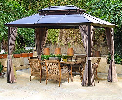 Erommy 10x13ft Outdoor Double Roof Hardtop Gazebo