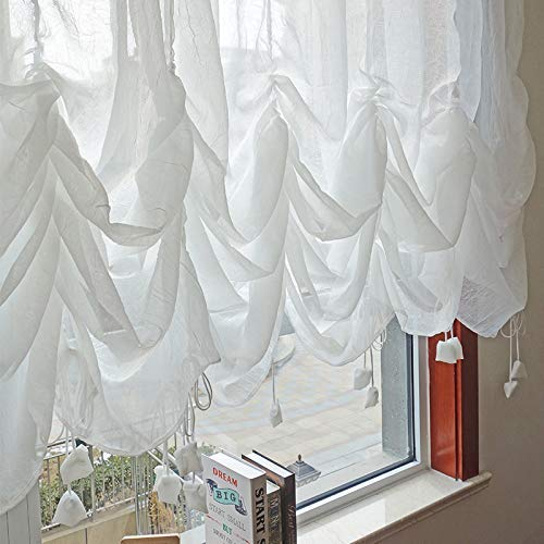 """Fadfay Sheer Curtain 78""""x59"""" Attached Valance"""