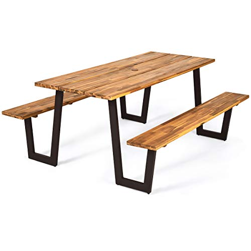 Giantex Picnic Table Bench Set With Umbrella Hole,