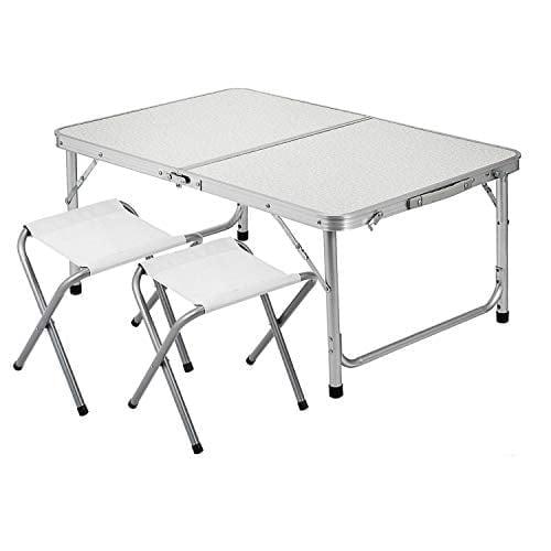 Happybuy Aluminum Folding Picnic Table With 2