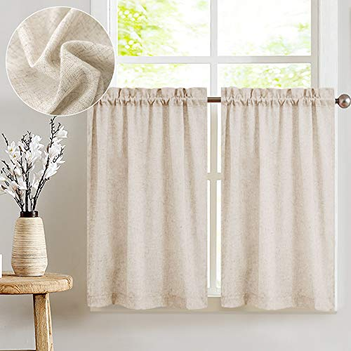 Jinchan Tier Curtains Linen Textured 24 Inches