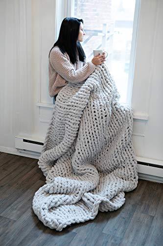 Large Grey Chunky Knit Blanket - (50 X 70) Machine