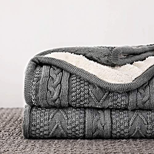 Longhui Bedding Acrylic Cable Knit Sherpa Throw