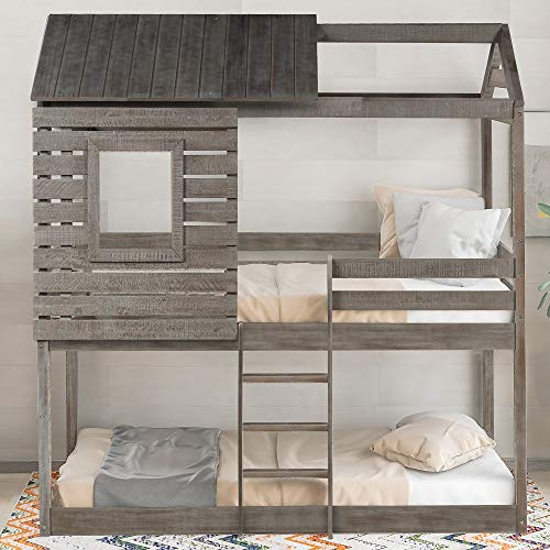 Low Bunk Beds Twin Over Twin Size, Wood Bunk Beds
