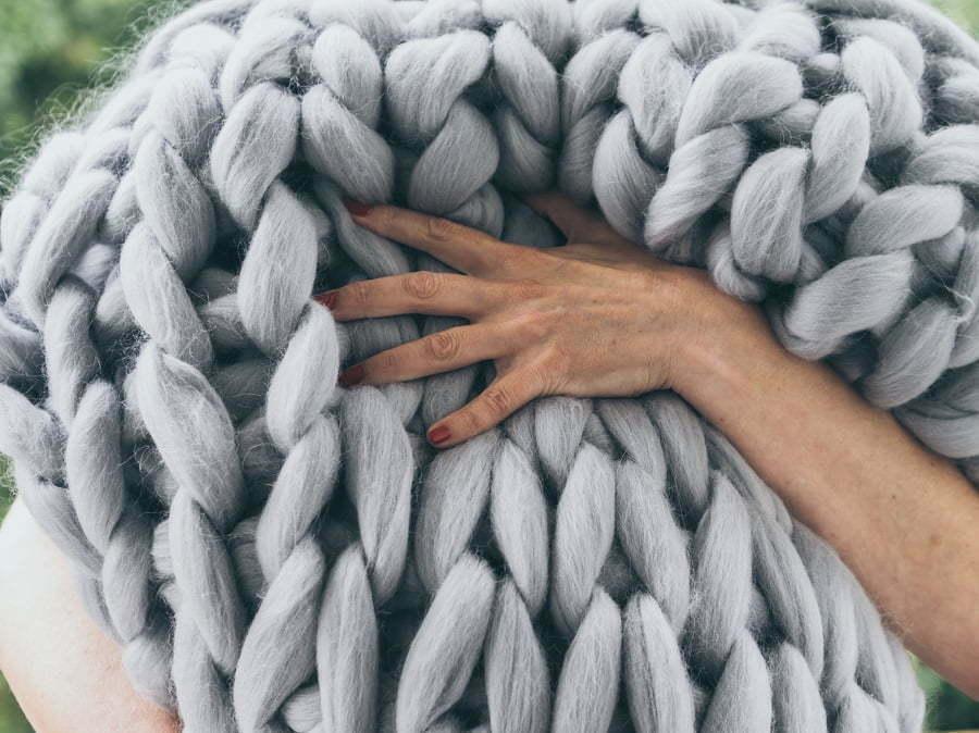 merino wool chunky knit blanket