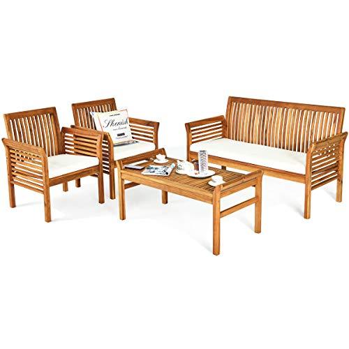 Tangkula 4 Piece Outdoor Acacia Wood Sofa Set