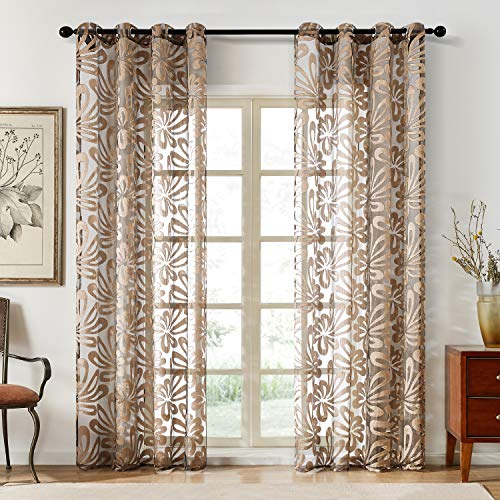 Top Finel Floral Sheer Curtains 84 Inches Long For