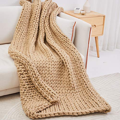 Trunkor Chunky Knit Blanket Beige 50x60 Inches - A