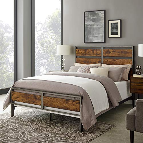 Walker Edison Arcadia Queen Size Bed Frame, Brown