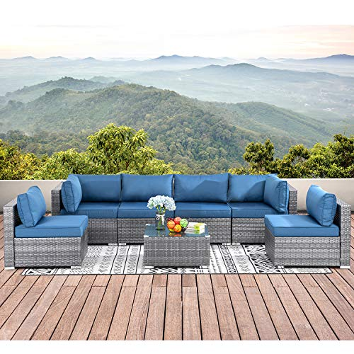 Walsunny 7pcs Patio Outdoor Furniture Sets,low