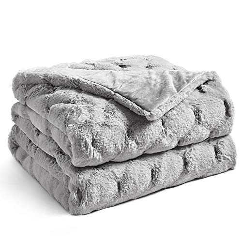 Ynm Fuzzy Faux Fur Weighted Blanket (light Grey,