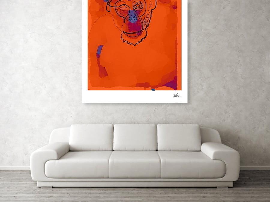 art print over sofa