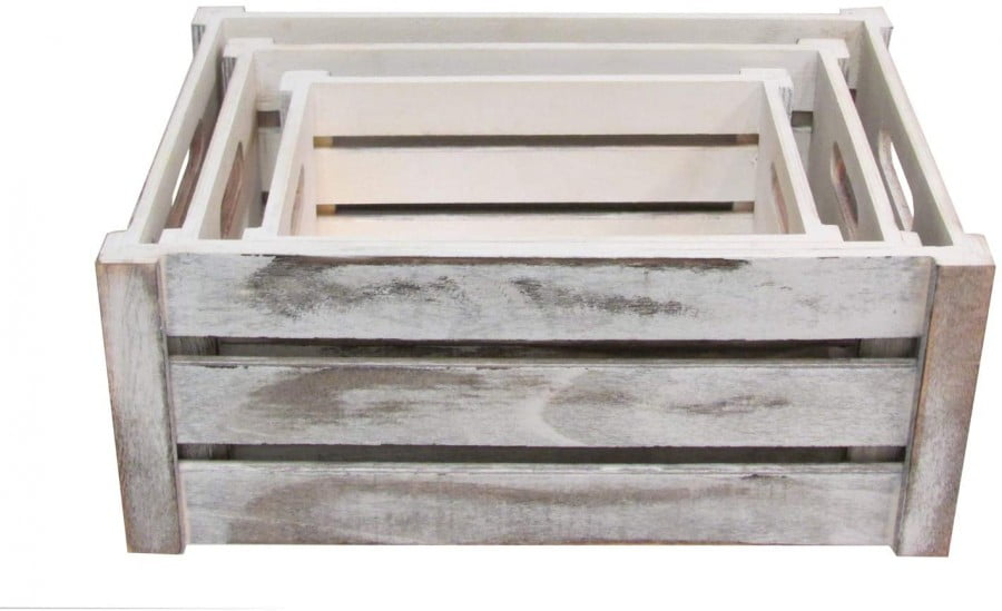 Admired By Nature Rustic White Set Of 3 Distressed