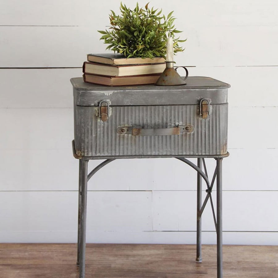 Foreside Home & Garden Distressed Metal Suitcase
