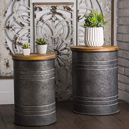 Glitzhome Rustic Storage Ottoman Seat Stool,