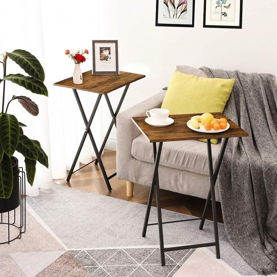 Hoobro Tv Trays Set Of 2, Folding Tv Tables, Snack