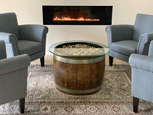Wine Barrel Coffee Table With Cork And Glass Top,
