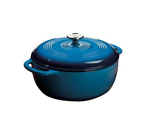 Lodge 6 Quart Enameled Cast Iron Dutch Oven. Blue