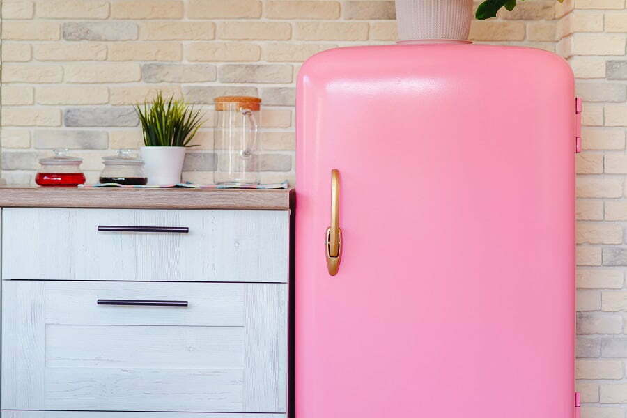 retro pink fridge